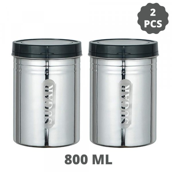 Stainless Steel Sugar Container Jar Set of 2, 800 ML