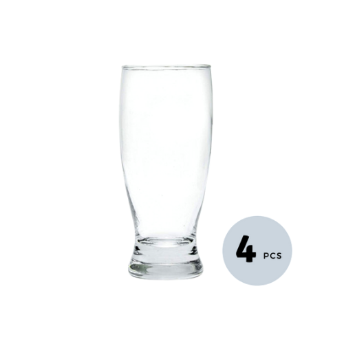 Clear Glass Chrome Tumbler - 300 ML, Set of 4
