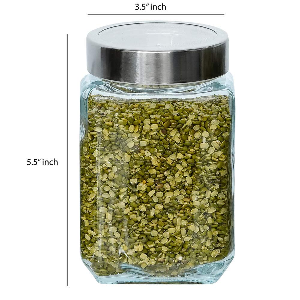 Glass Cuboid Kitchen Storage Jar-750ML