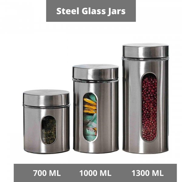 Femora Clear Glass Steel Window Jars for Kitchen Storage, 700ML, 1000ML, 1300ML, Set of 3