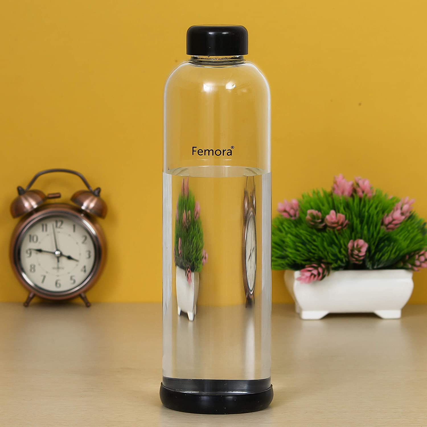 Femora Borosilicate Glass Silicone Grip Bottle - 1000 ML