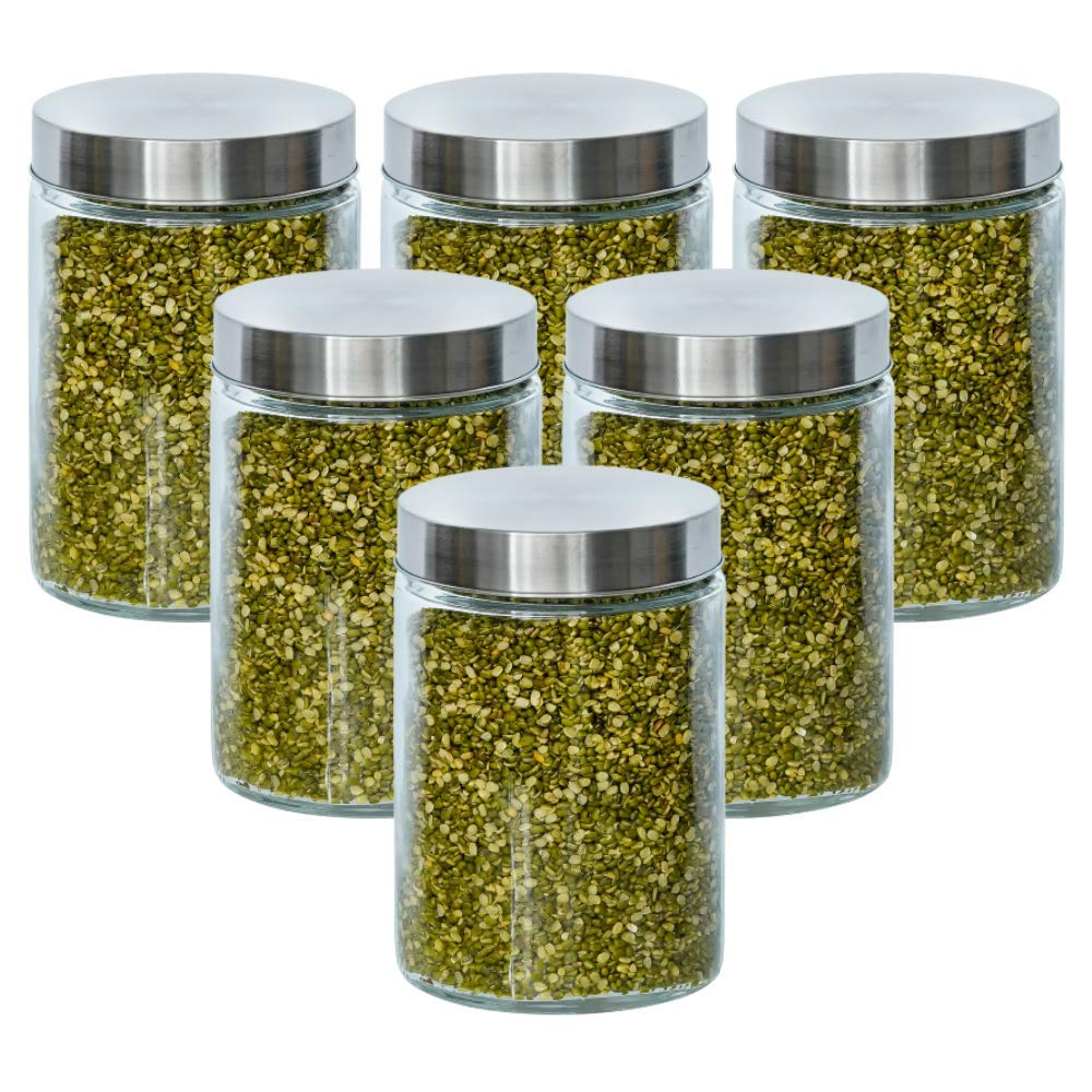 Glass Cylinder Storage Jar-1100ML, Set of 6