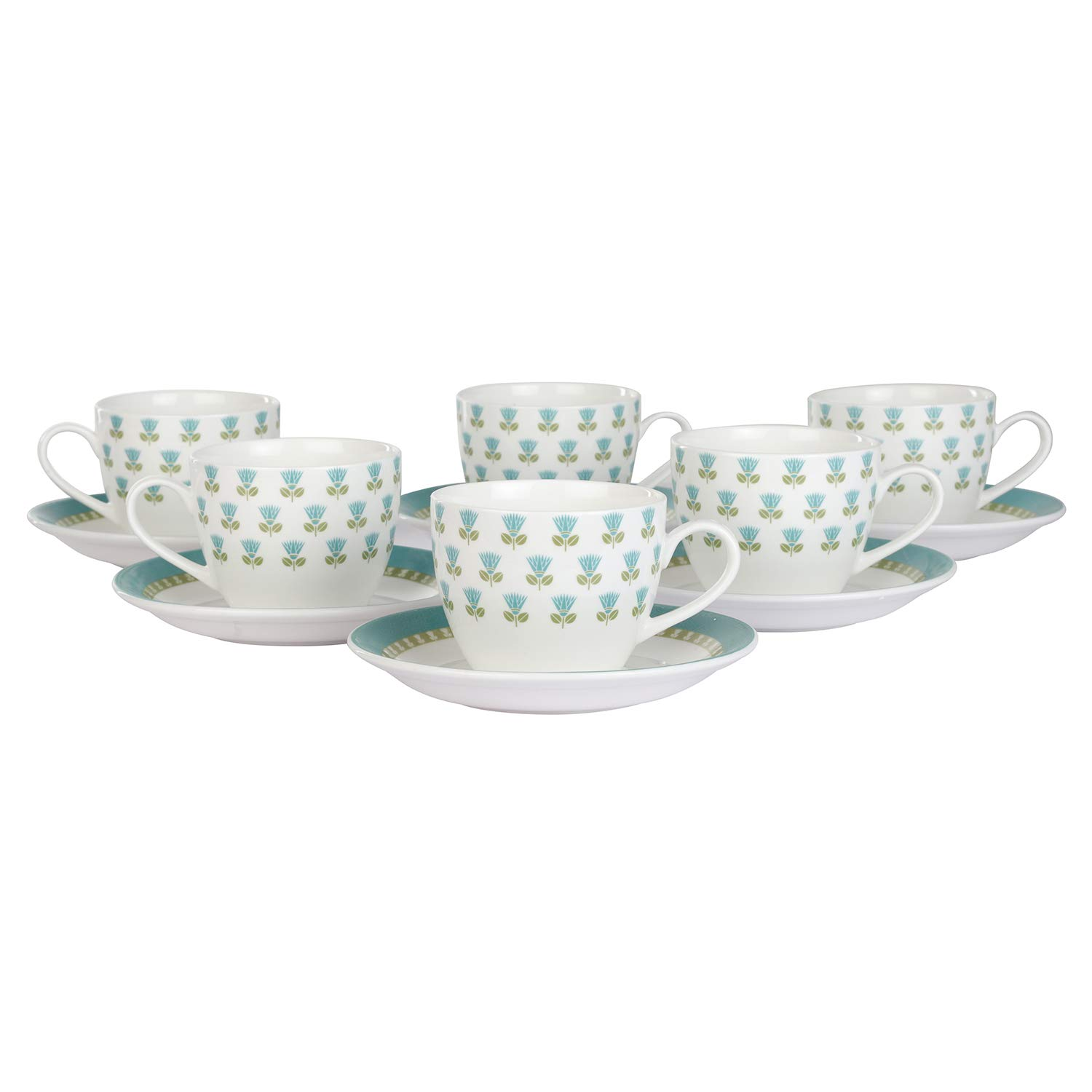 Indian Ceramic Rich Orchid Tea Cups & Saucers Set of 6 Cup and 6 Saucer - 200 ML