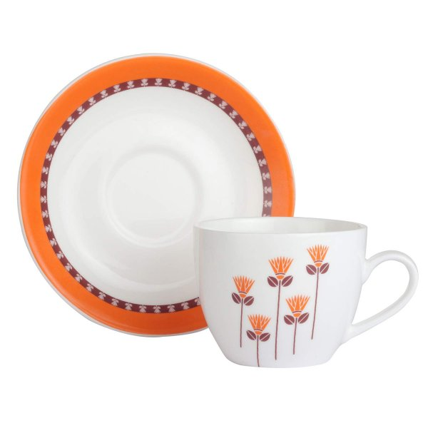 Ceramic Saffron Floral Tea Cups & Saucers, 205ML