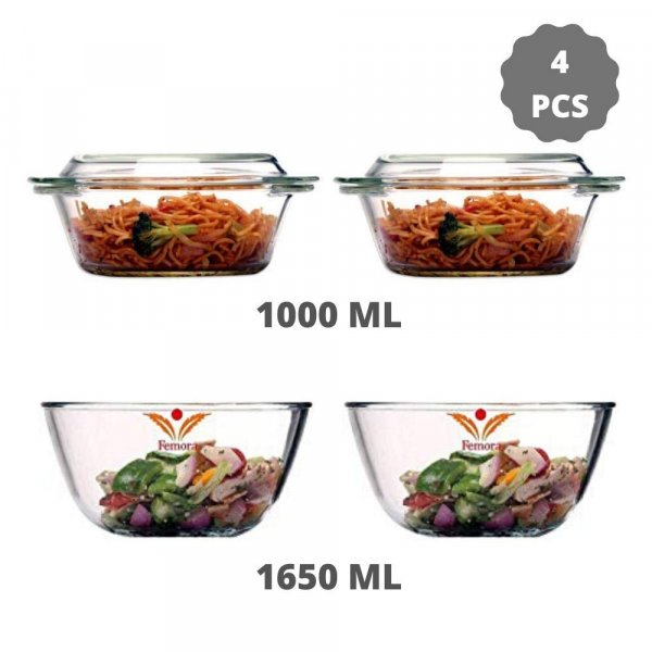 Borosilicate Glass Microwave Safe Mixing Bowl 1650 ML, Serving Casserole 1000 ML, Set of 4