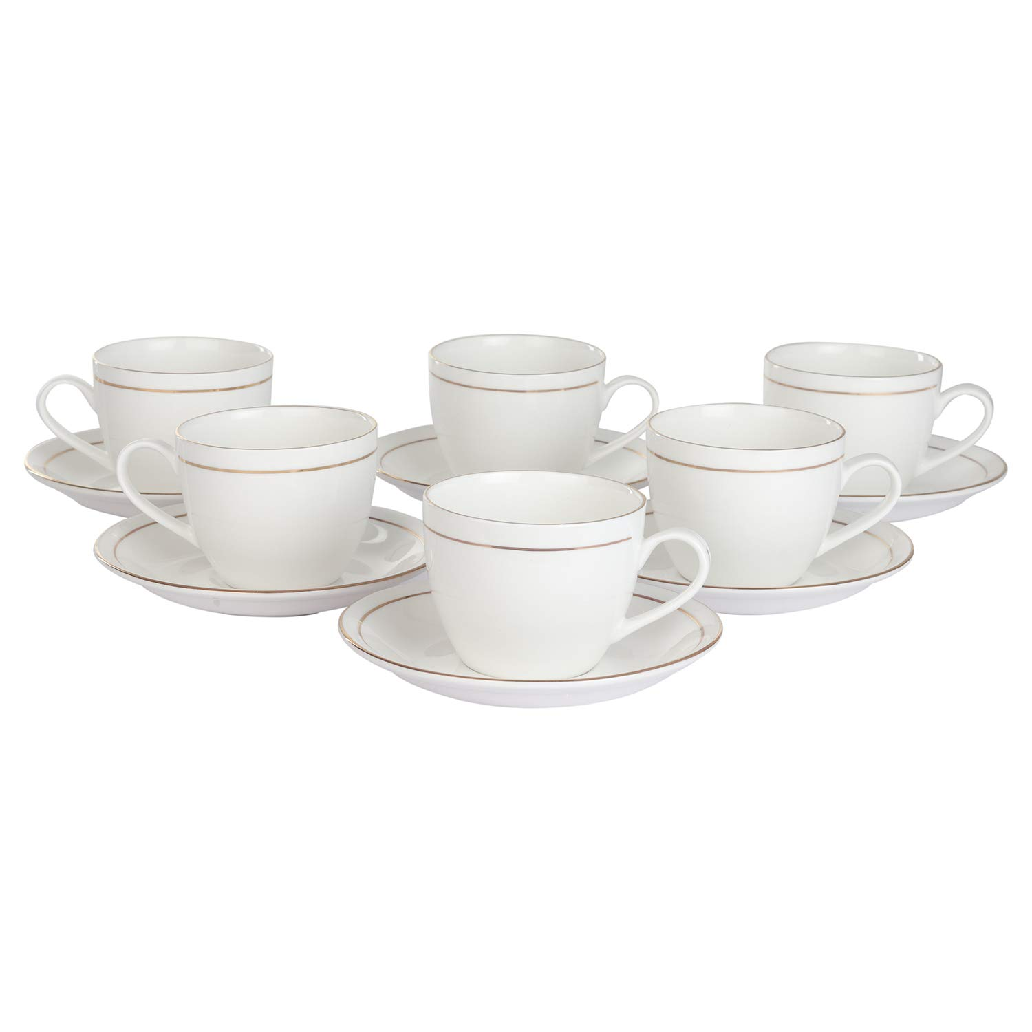 Indian Ceramic Gold Line White Cups & Saucer- 205 ML - 6 Cup & 6 Saucer