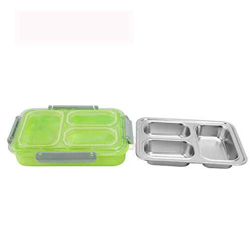 Steel Three Partition Compartment Leak Proof Lunch Box - Green Color
