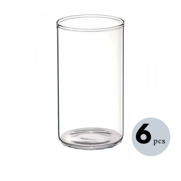 Femora Borosilicate Glass Microwave Safe Water Tumbler 350 ml, Set of 6