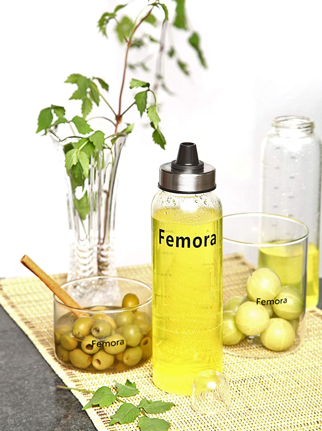 Femora Borosilicate Glass Spice Jar Bottle with Lid, 500 ML