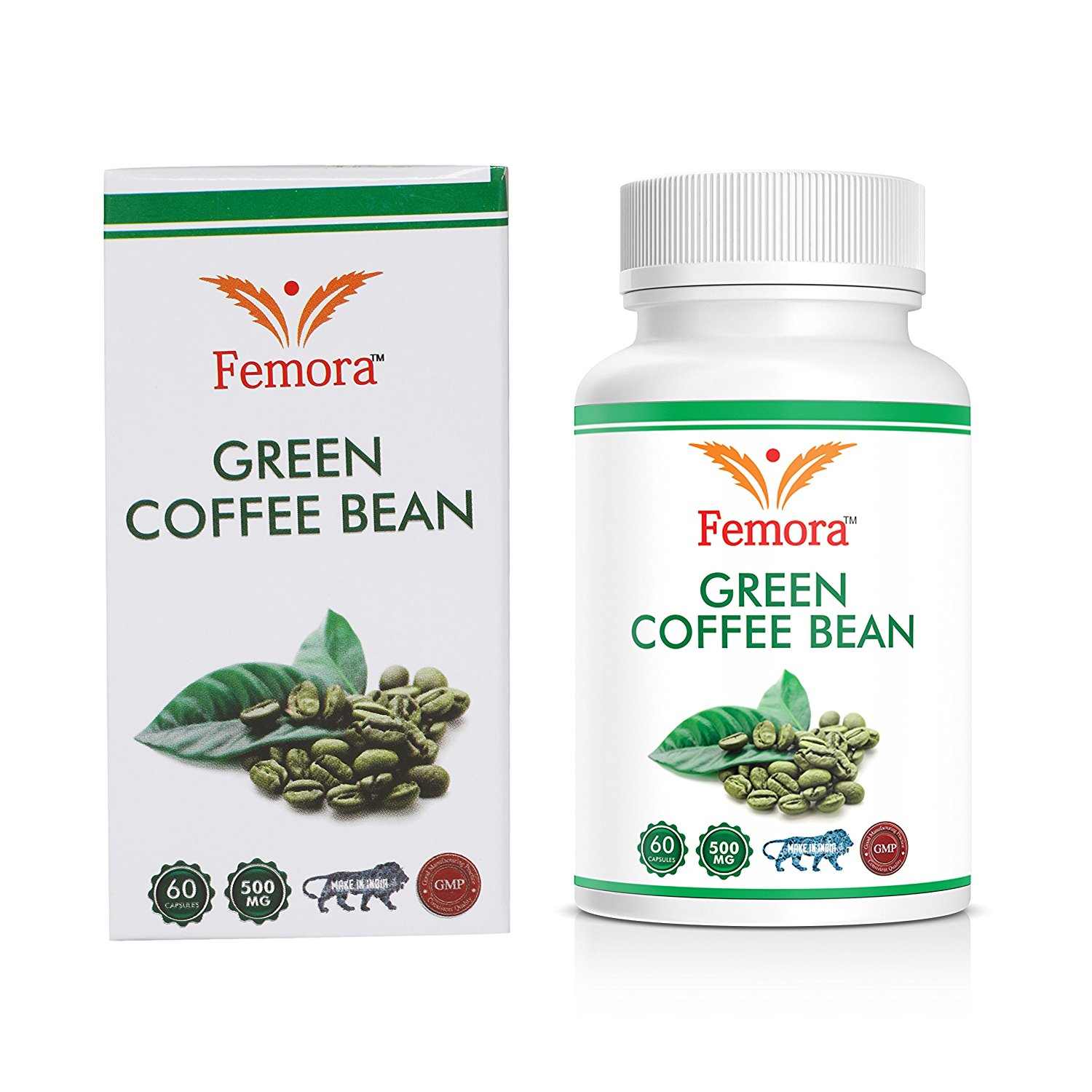 Femora Green Coffee Beans Extract 500 mg (60 Pure Veg Capsules) Pack of 1, 100 % Pure & Natural Weight Management & Appetite Suppressant Supplement
