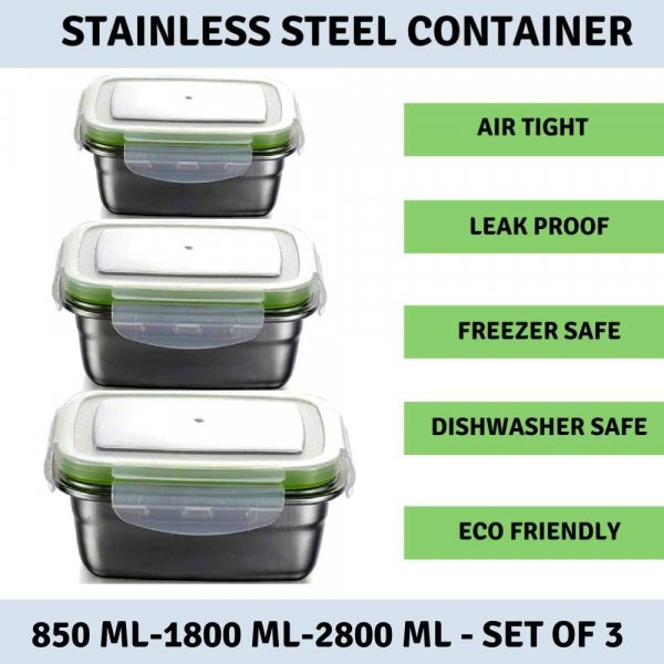 Femora High Steel Rectangle Container with Lock Lid Lunch Box for Office, Storage, Lunch Box - 850ml, 1800ml, 2800ml Set of 3