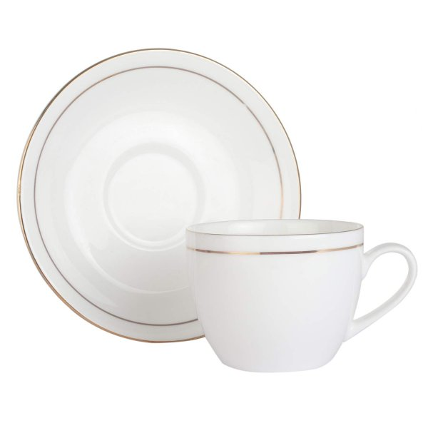 Femora Bone China Gold Line White Cups & Saucer- 190 ML- Set of 12