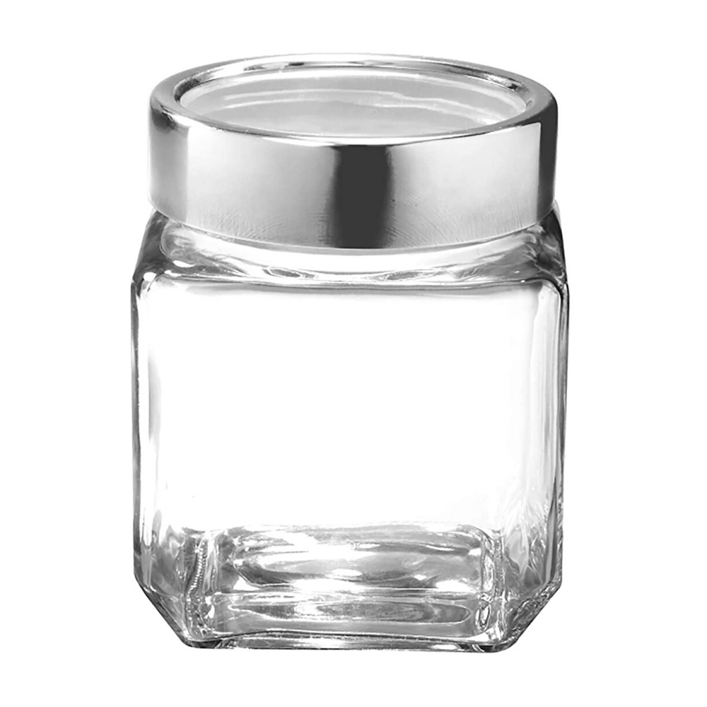 Femora Cubical Clear Glass Jar - 750 ML, Set of 2