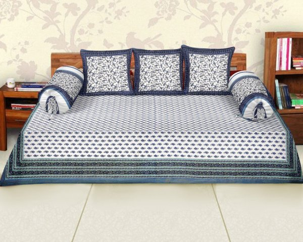 Femora Cotton Flora Printed Diwan Set -Pack of 6 - Blue
