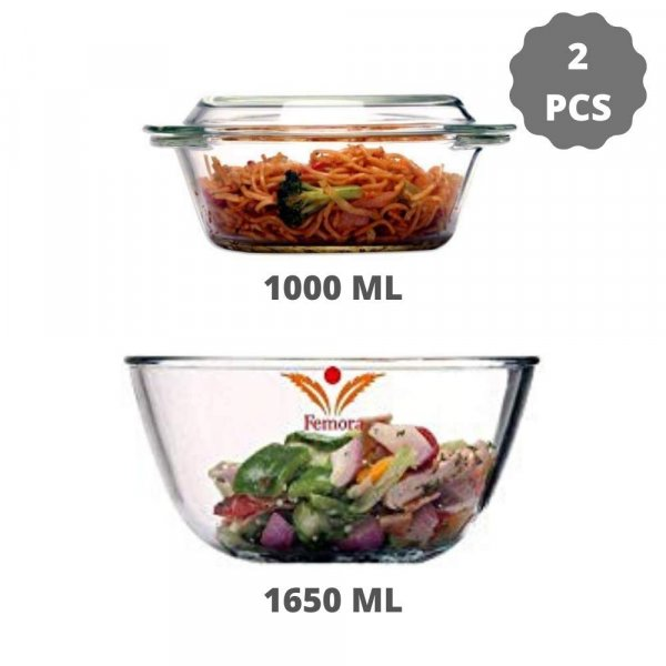 Borosilicate Glass Microwave Safe Mixing Bowl 1650 ML, Serving Casserole 1000 ML, Set of 2