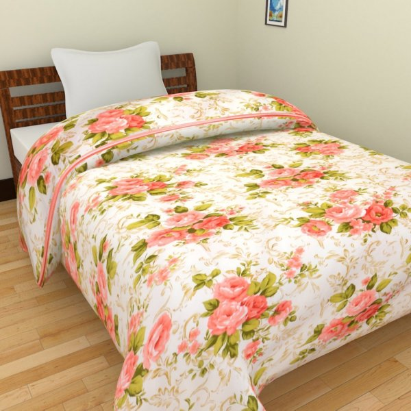 Femora Floral Polycotton Single Bed Reversible AC Blanket