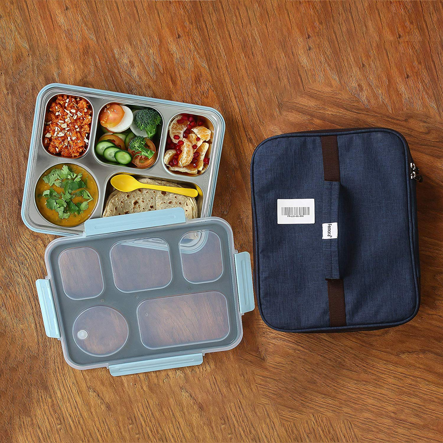 High Steel Rectangle Lunch Box Container with Bag