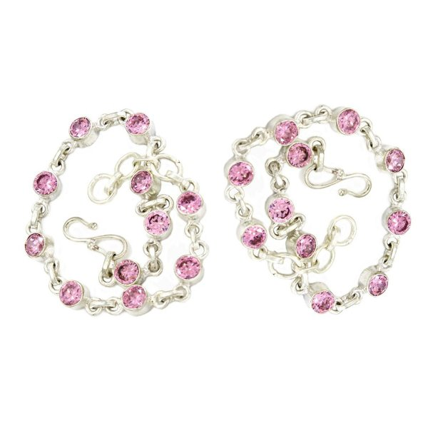 Femora Pink Color German Silver Anklets