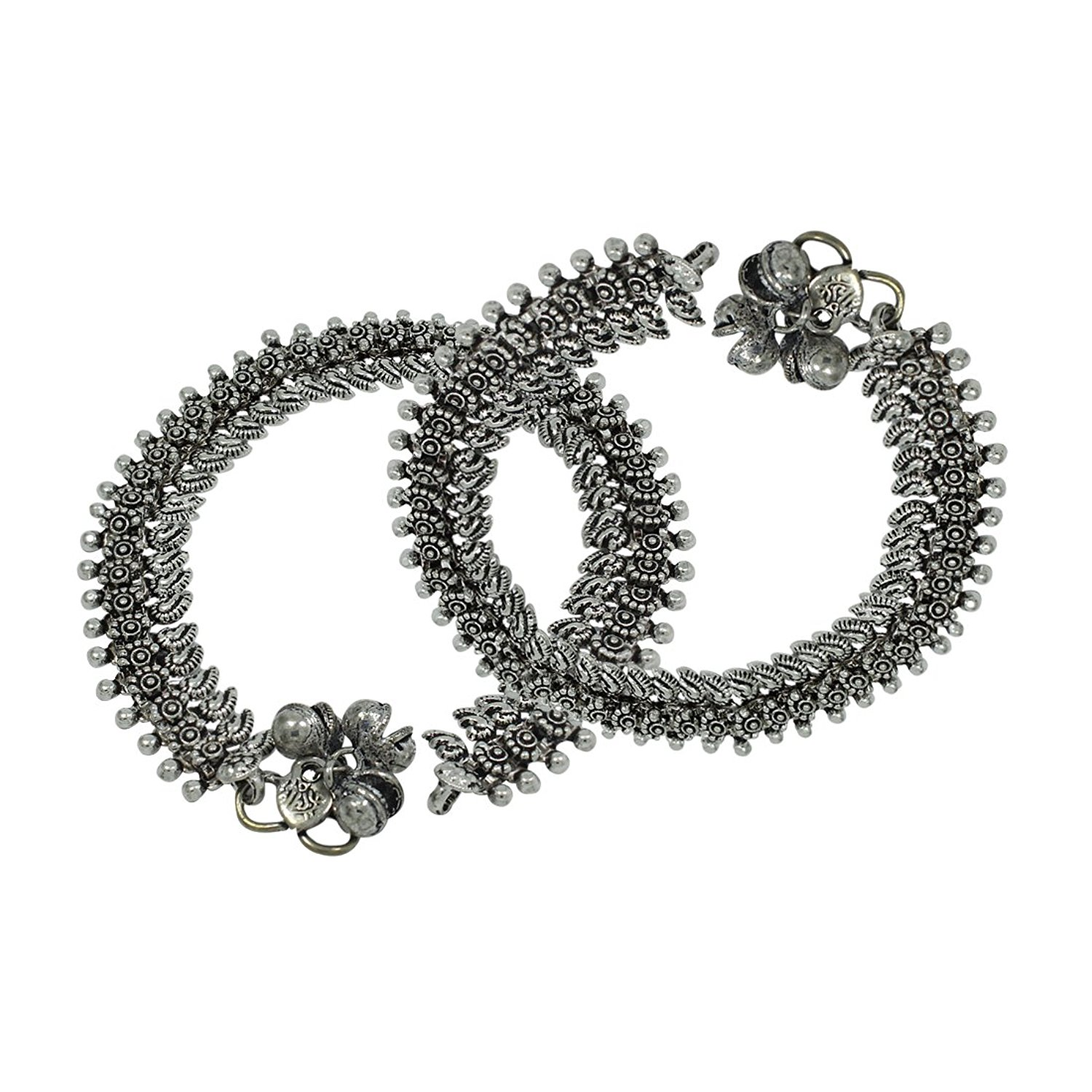 Femora Floral Oxidized German Silver Anklets