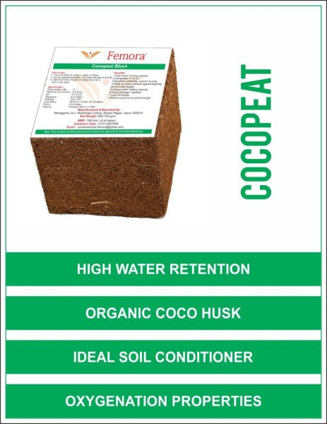 Femora Natural Organic Cocopeat Block - 600 gms