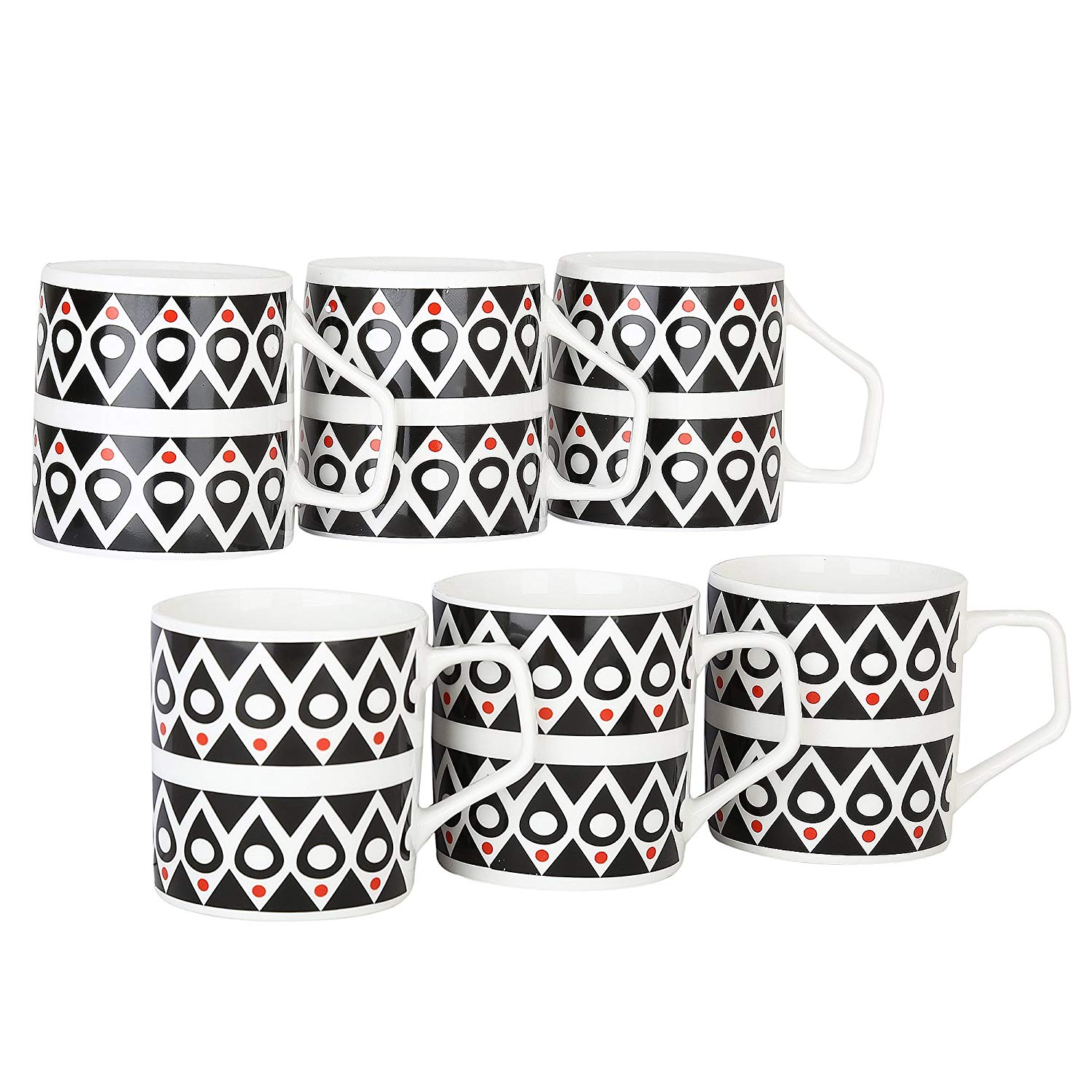 Femora Bone China Classical Black  Microwave Safe Tea Cup, Set of 6, 185ml