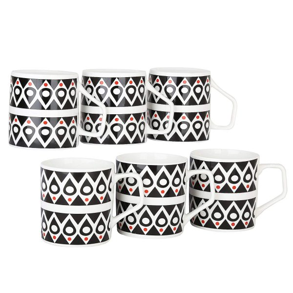 Femora Bone China Classical Black  Microwave Safe Tea Cup, Set of 6, 190ml