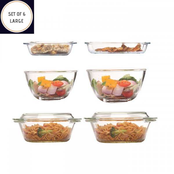 Borosilicate Glass Bakeware, Set of 6 (Large)