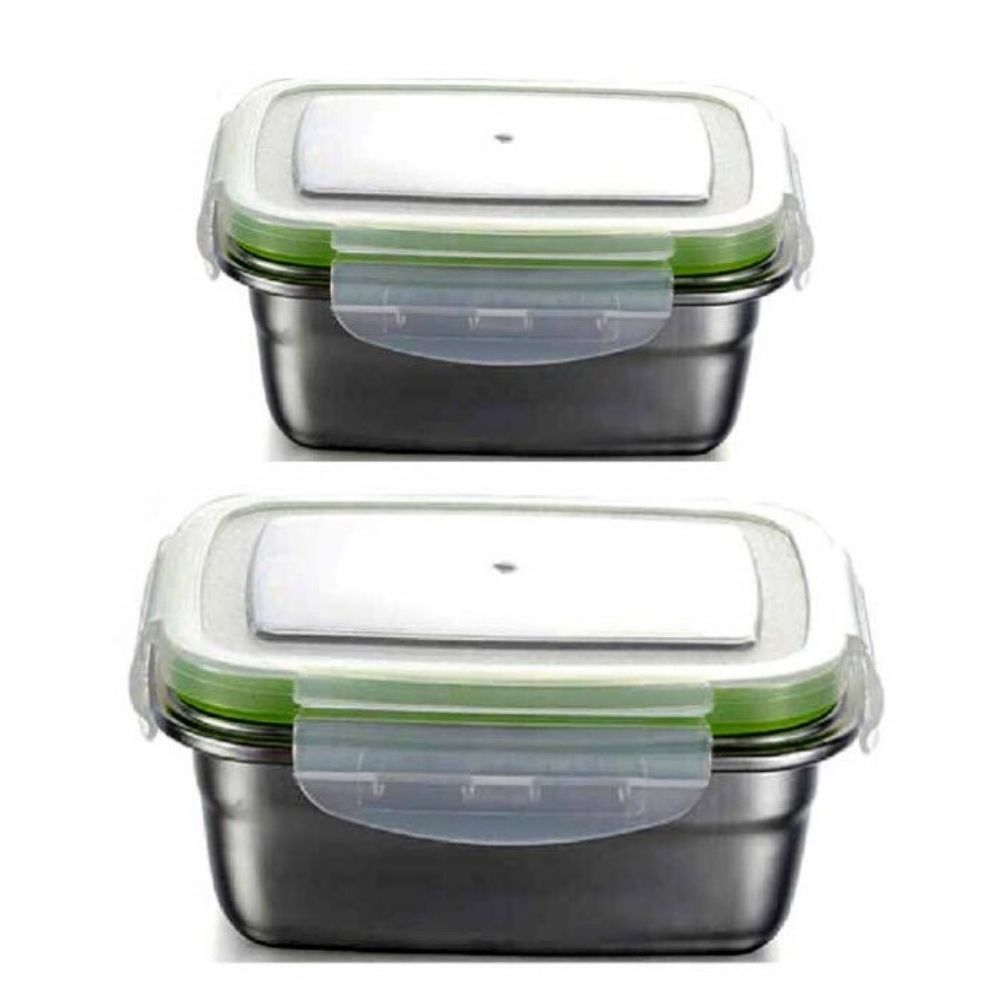 High Steel Rectangle Container with Lock Lid Lunch Box for Office, Storage, Lunch Box - 2800ml, 1800ml Set of 2