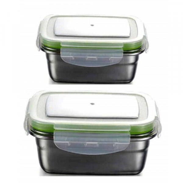 Femora High Steel Rectangle Container with Lock Lid Lunch Box for Office, Storage, Lunch Box - 550ml, 850ml Set of 2