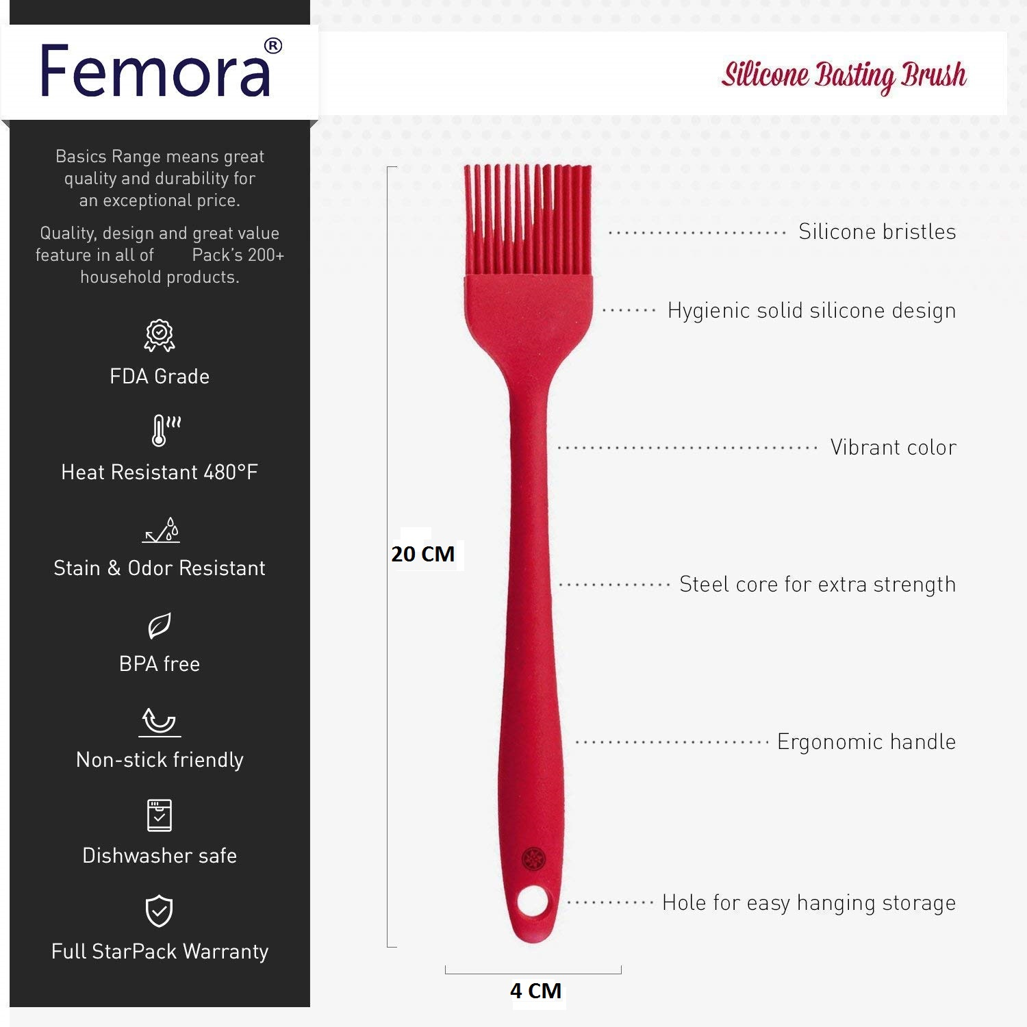 Femora Silicone Premium Brush with Grip Handle, Red, 1 Year Warranty