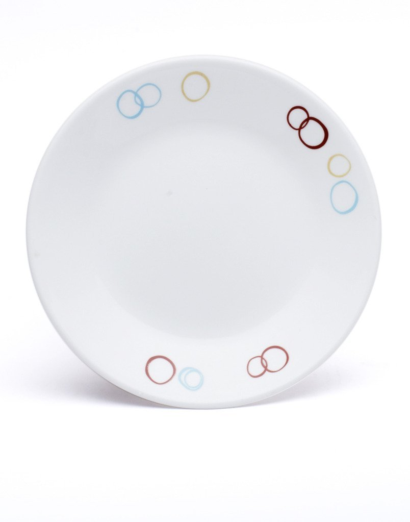 Corelle Livingware Series Circles Dinner Printed Glass Plate Set of 6