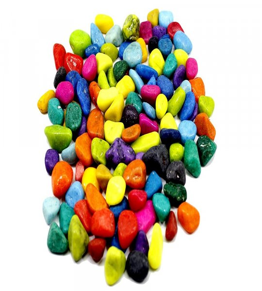 Femora Multi color solid aquarium pebbles(2 kg)