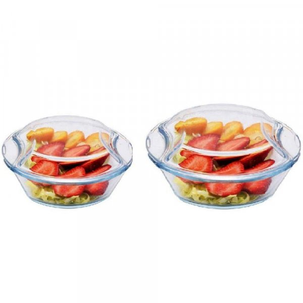 Borosilicate Glass Microwave Safe Casserole - 500ML, 1000ML, Set of 2