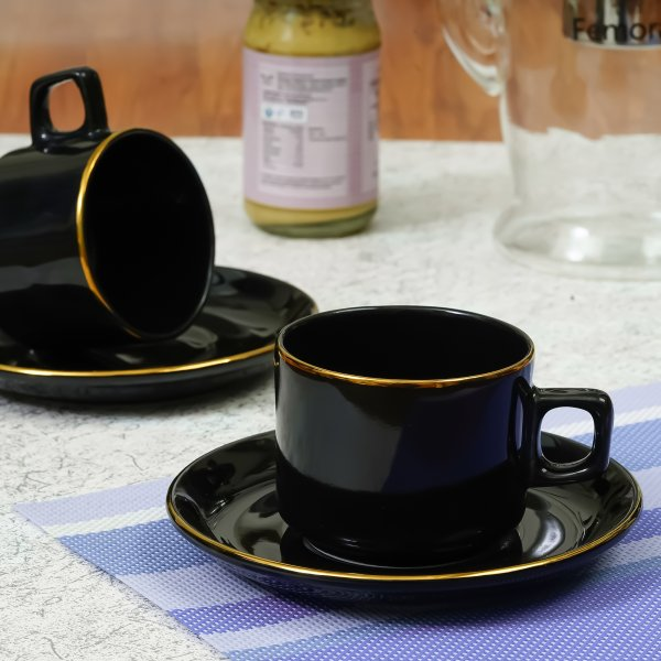 Indian Ceramic Bone China Black Gold Plated Tea 2 Cup & 2 Saucers