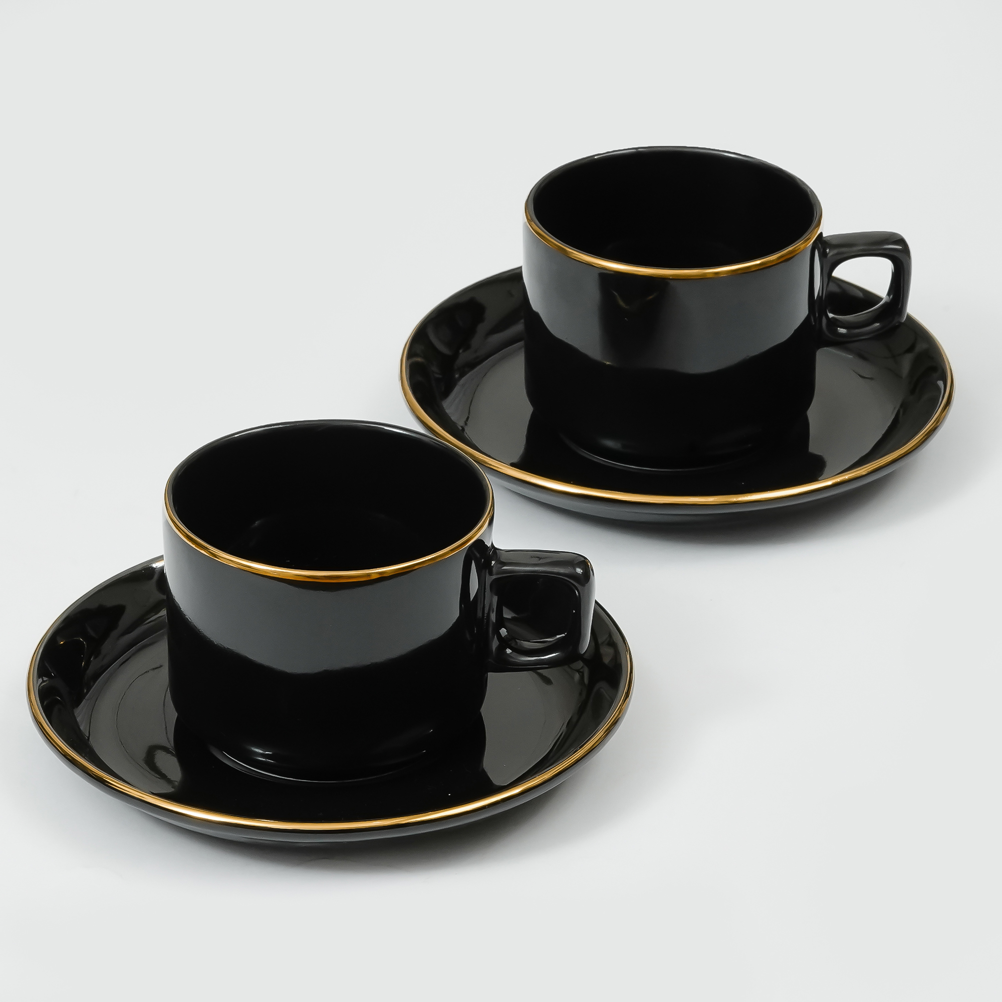 Femora Indian Ceramic Handmade Black Gold Plated Tea Cup with Saucers (6 Cup, 6 Saucer)