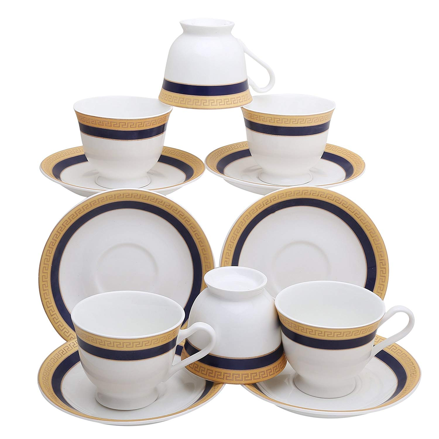 Femora Fine Bone China Classical Golden Border Cup Set with Saucer, Set of 12, 200ml