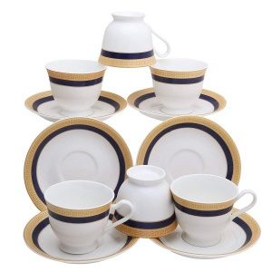 Bone China Fine Classical Golden Border Cup Set with Saucer, 200ml