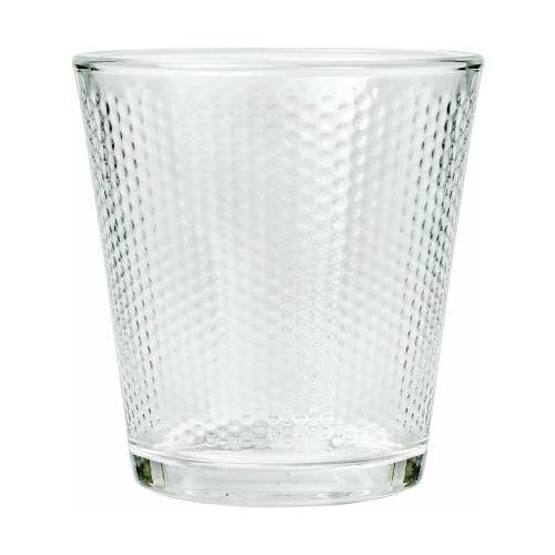 Femora Clear Glass Diamond Checkers Water Tumbler - 300 ML, Set of 4