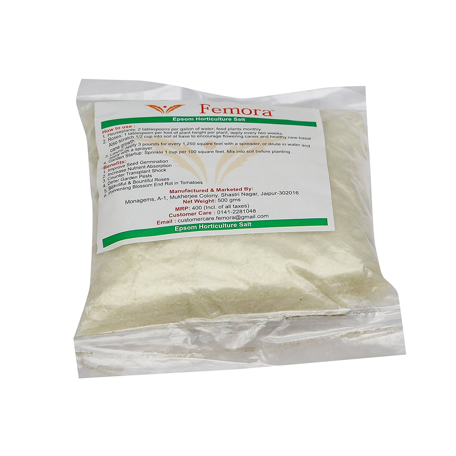 Femora Pure Epsom Salt for Horticultural/Aquarium Purposes - 500 gm