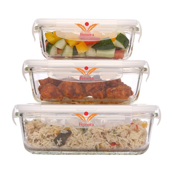 Femora Borosilicate Glass Rectangular Container with Air Vent Lid 400 ML, 620 ML, 1000 ML,Set of 3