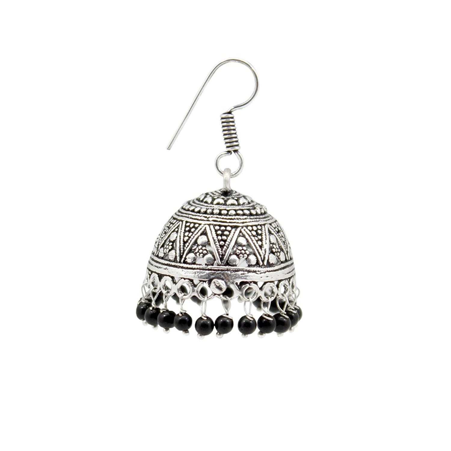 Femora Lovely Duet Black Oxidized German Silver Jumki Earring For Weddings and Formal Eevents