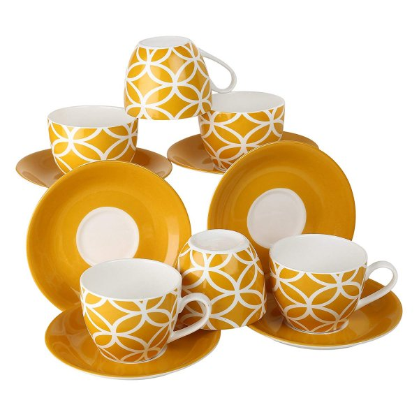 Ceramic Fine Yellow Color Cups & Saucer Set,  200 ML