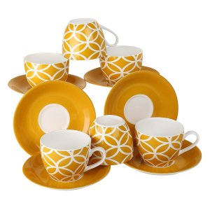 Bone China Fine Yellow Color Cups & Saucer Set,  200 ML