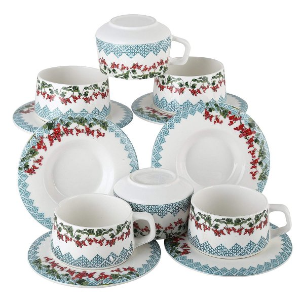 Femora Fine Bone China Flora Series Cup Set with Saucer, Set of 12, 205 ml