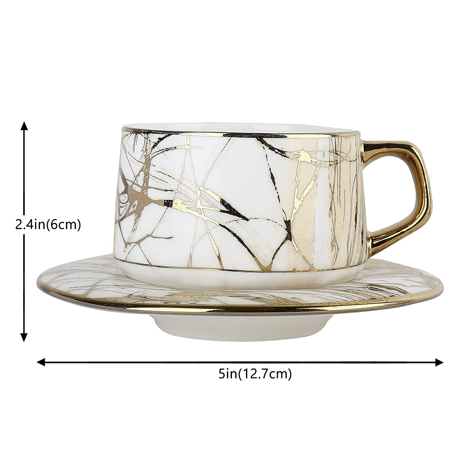 Femora Fine Bone China Rich Gold Pine Work Cup Saucer Set,  205 ml