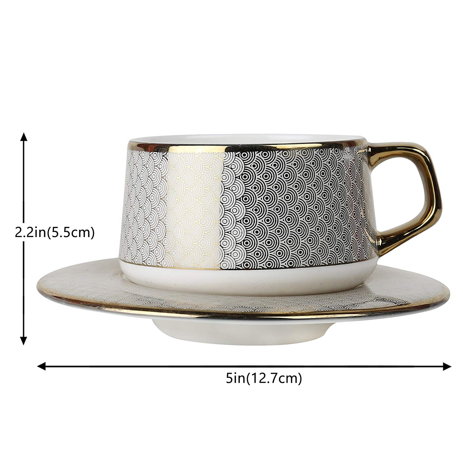 Femora Fine Bone China Rich Gold Pine Work Cup Saucer, 205 ml