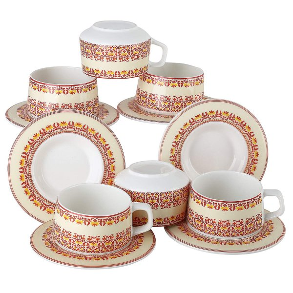 Femora Fine Bone China Flora Series Cup Set with Saucer, Set of 12,205 ml
