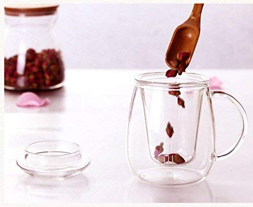 Femora Borosilicate Glass Thin Wall Cup with Tea Coffee Infuser - 400 ML- Set of 2 Pcs