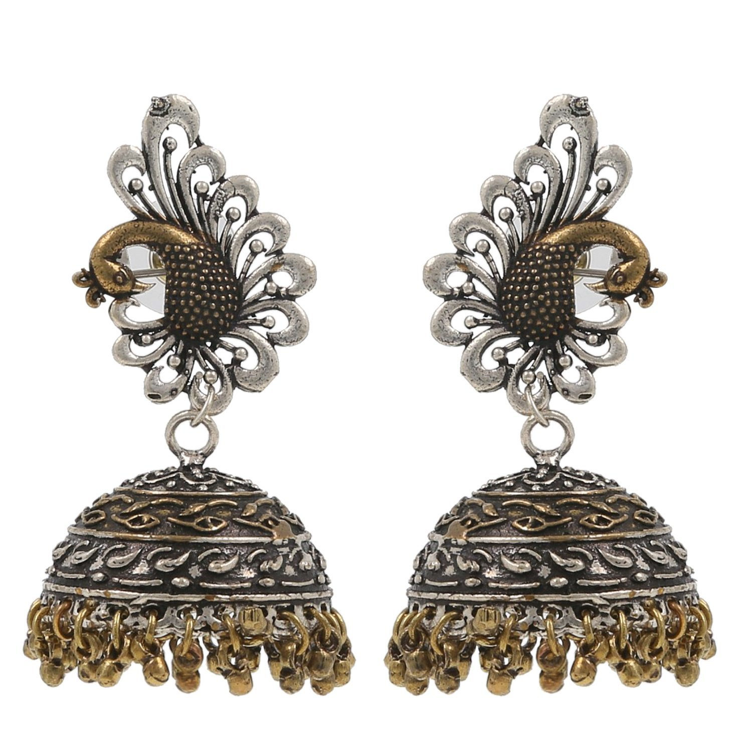 femora Peacock Black Metal Silver Palted Oxidized Jhumki Earrings For Women