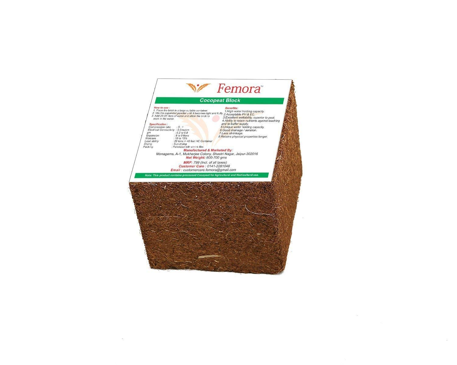 Femora Natural Cocopeat Block - 4.5 kg